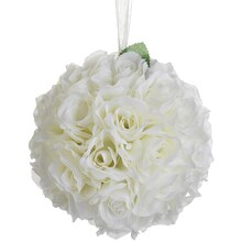 "8"" Rose Kissing Ball, Cream"