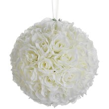 "10"" Rose Kissing Ball, Cream"