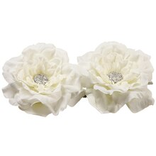 "5.5"" Floating Peony Flower Head with Rhinestones, White"