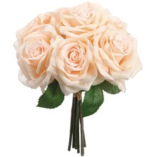"11.5"" Rose Bundle, Peach, 7 Blooms"