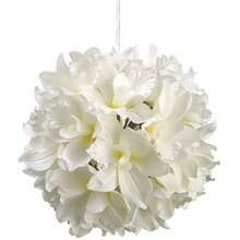 "8"" Cattleya Orchid Kissing Ball, White"