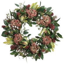 "19"" Protea, Thistle, and Sedum Wreath"