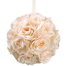 "8"" Rose Kissing Ball, Peach"