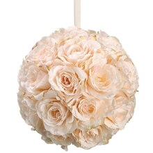"10"" Rose Kissing Ball, Peach"