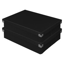 Pop n' Store Document Box 2-Pack, Black, Stacked