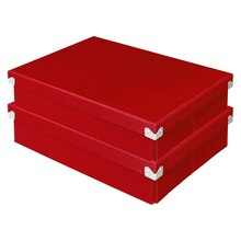 Pop n' Store Document Box 2-Pack, Red, Stacked