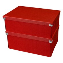 Pop n' Store Medium Document Box 2-Pack, Red, Stacked