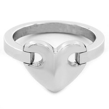 Stainless Steel Heart Ring, 7
