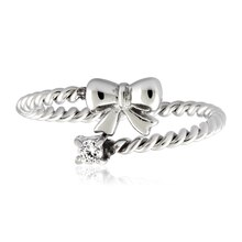 Stainless Steel Twisted Rope Bow with Cubic Zirconia Wrap Ring, 6
