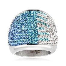 ELYA Stainless Steel Crystal Cocktail Ring, 9
