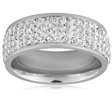 Women's Stainless Steel Clear Crystal Ring, 7