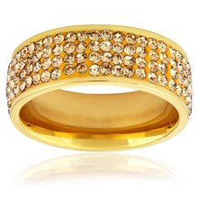 Women's Gold Plated Champagne Crystal Ring, 9