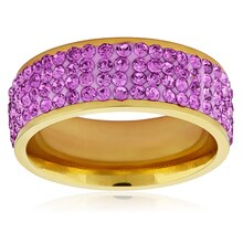 Women's Gold Plated Purple Crystal Ring, 9