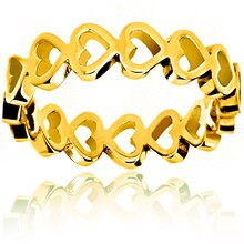 Gold Plated Open Heart Eternity Ring, 5