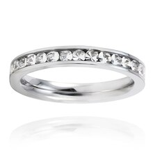 Stainless Steel Crystal Polished Eternity Band, 9
