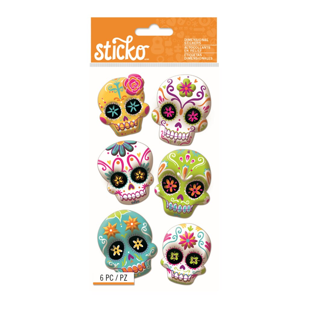 Find the Sticko® Sugar Skull Dimensional Stickers at Michaels