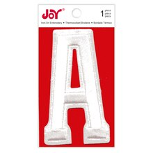 Joy Varsity White Iron-On Embroidery Letter, A