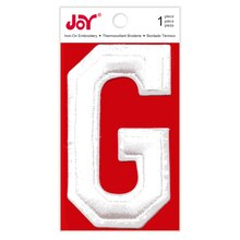 Joy Varsity White Iron-On Embroidery Letter, G
