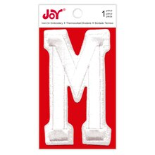 Joy Varsity White Iron-On Embroidery Letter, M