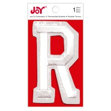 Joy Varsity White Iron-On Embroidery Letter, R
