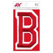 Joy Varsity Red Iron-On Embroidery Letter, B