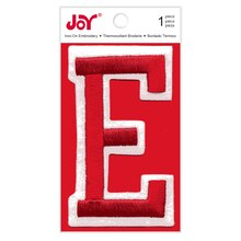 Joy Varsity Red Iron-On Embroidery Letter, E