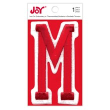 Joy Varsity Red Iron-On Embroidery Letter, M