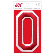 Joy Varsity Red Iron-On Embroidery Number, 0