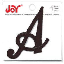 Joy Large Monogram Black Iron-On Embroidery Letter, A