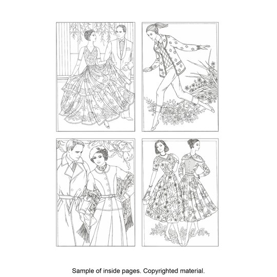 Creative HavenR Fabulous Fashions Of The 1950s Coloring Book