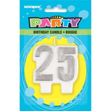 Silver 25th Birthday Candle, Packaging