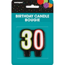 Birthday Cheer 30th Birthday Candle, Packaging