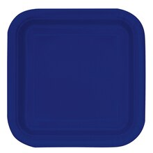 "7"" Square Navy Blue Party Plates, 16ct"
