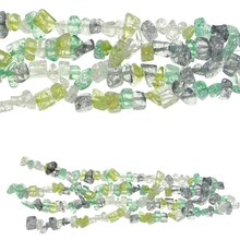 Bead Gallery Peridot Crackled Glass Chips, Green Mix