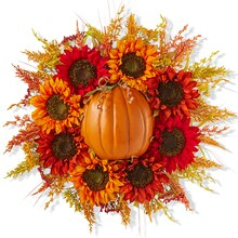 Half Craft Pumpkin Sunflower Wreath, medium