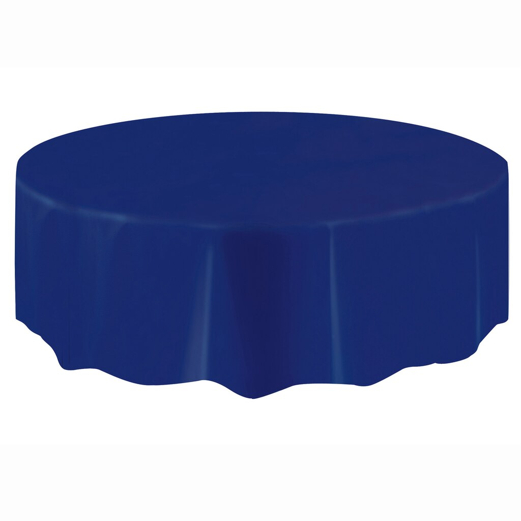 Plastic Navy Blue Round Table Cover