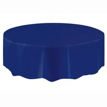 Plastic Navy Blue Round Tablecloth, 84""