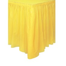 Plastic Light Yellow Table Skirt, 14 Ft.