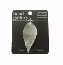 Bead Gallery Silver-Plated Metal Leaf Pendant