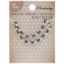 Pemberley Oxidized Brass & Pearl Necklace Chain By Bead Landing
