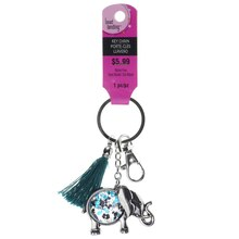 Silver Jeweled Elephant Key Chain by Bead Landing