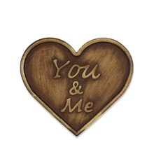 Brass You & Me Heart Magnetic Metal Plaque By ArtMinds