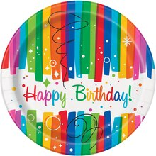 "7"" Rainbow Birthday Party Plates, 8ct"