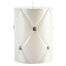 "Ashland White Crisscross Pillar Candle, 3"" x 4"""