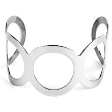 Women's Polished Open Circle Cuff Stainless Steel Bracelet
