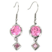 Women's Stainless Steel Pink Cubic Zirconia Dangling Earrings