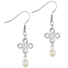 ELYA Signature Logo with Agate Dangling Stainless Steel Earrings, White