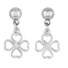 ELYA Love & Luck Clover Dangling Stainless Steel Earrings