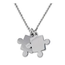 Women's Brushed & Polished Stainless Steel Puzzle Pieces Pendant Necklace