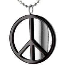 Women's Black IP Stainless Steel Peace Sign Pendant Necklace